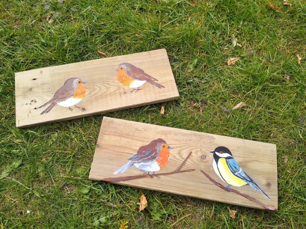 vogels op hout, schilderij, tuinvogels,