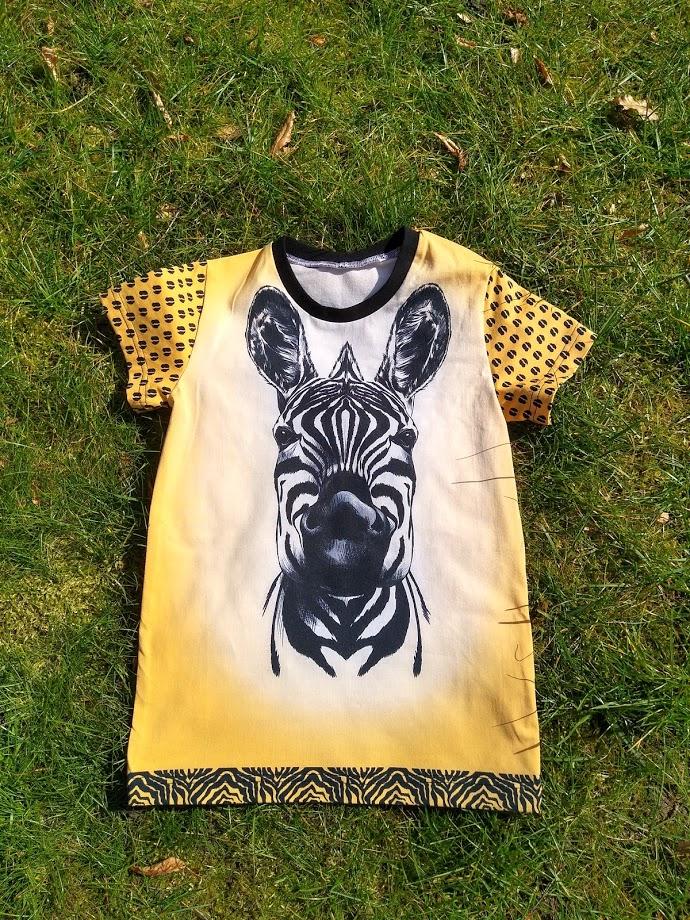 t-shirt, naaien, zebra, shirt, geel,