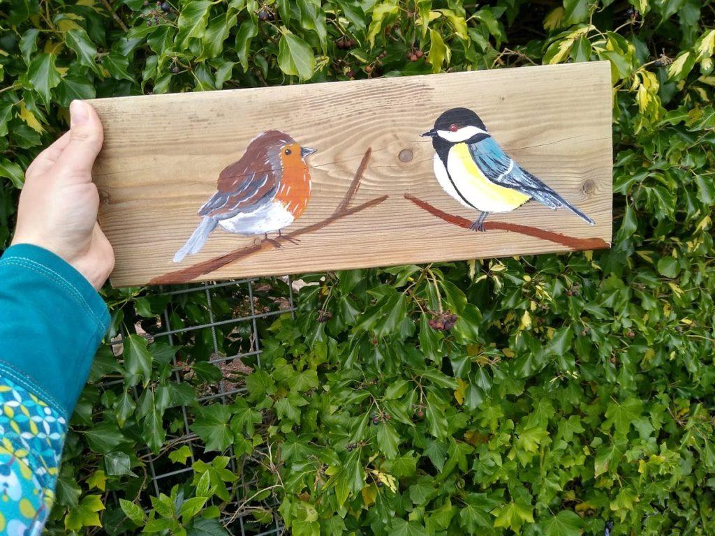 vogels op hout, schilderij, kopen, kunst, roodborstje, koolmeesje