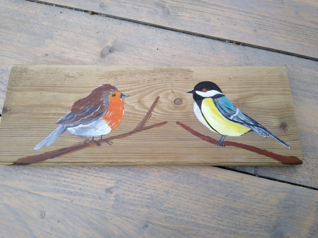 vogels schilderij, tuinvogels, hout,